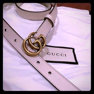 Gucci White Belt Size:75